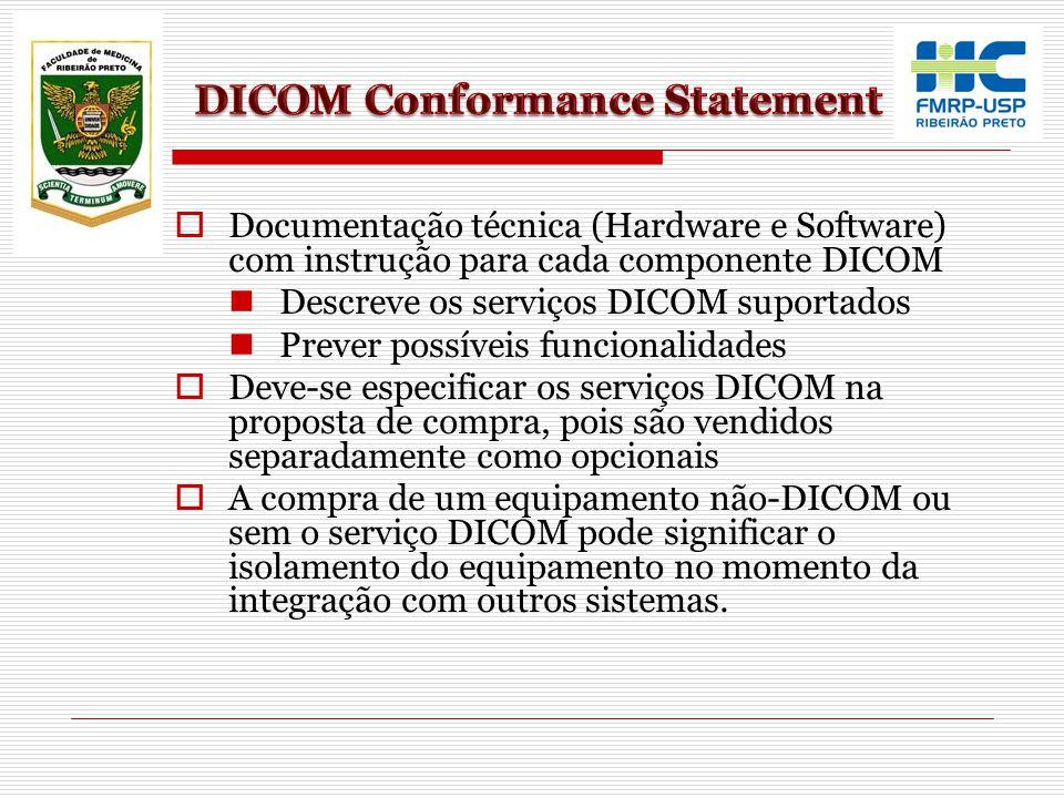 Documentação técnica (Hardware e Software) com instrução para cada componente DICOM Descreve os serviços DICOM suportados Prever possíveis funcionalid
