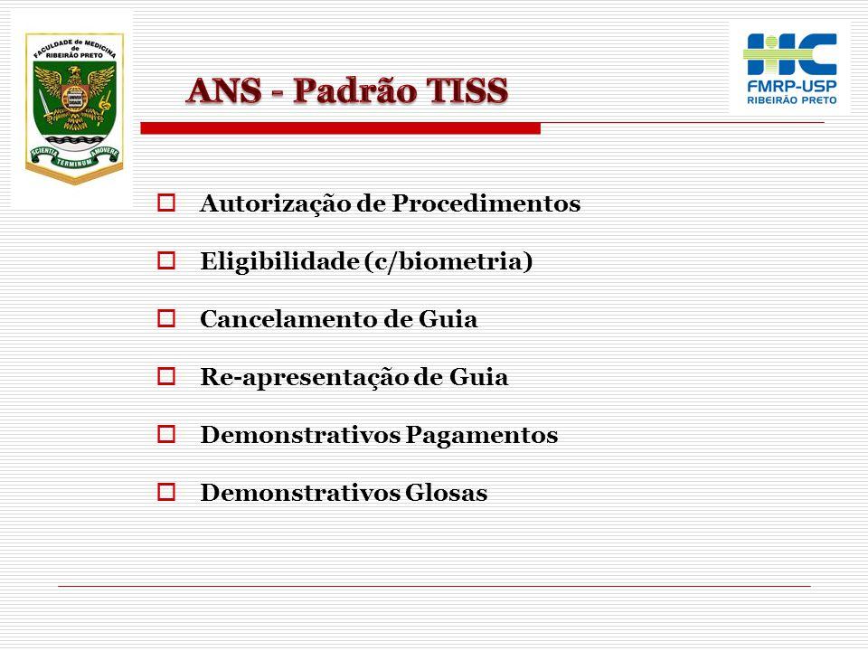 Autorização de Procedimentos Eligibilidade (c/biometria) Cancelamento de Guia Re-apresentação de Guia Demonstrativos Pagamentos Demonstrativos Glosas