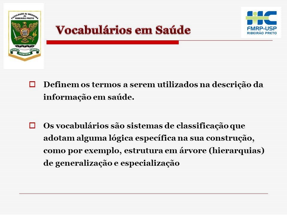 Definem os termos a serem utilizados na descrição da informação em saúde. Os vocabulários são sistemas de classificação que adotam alguma lógica espec