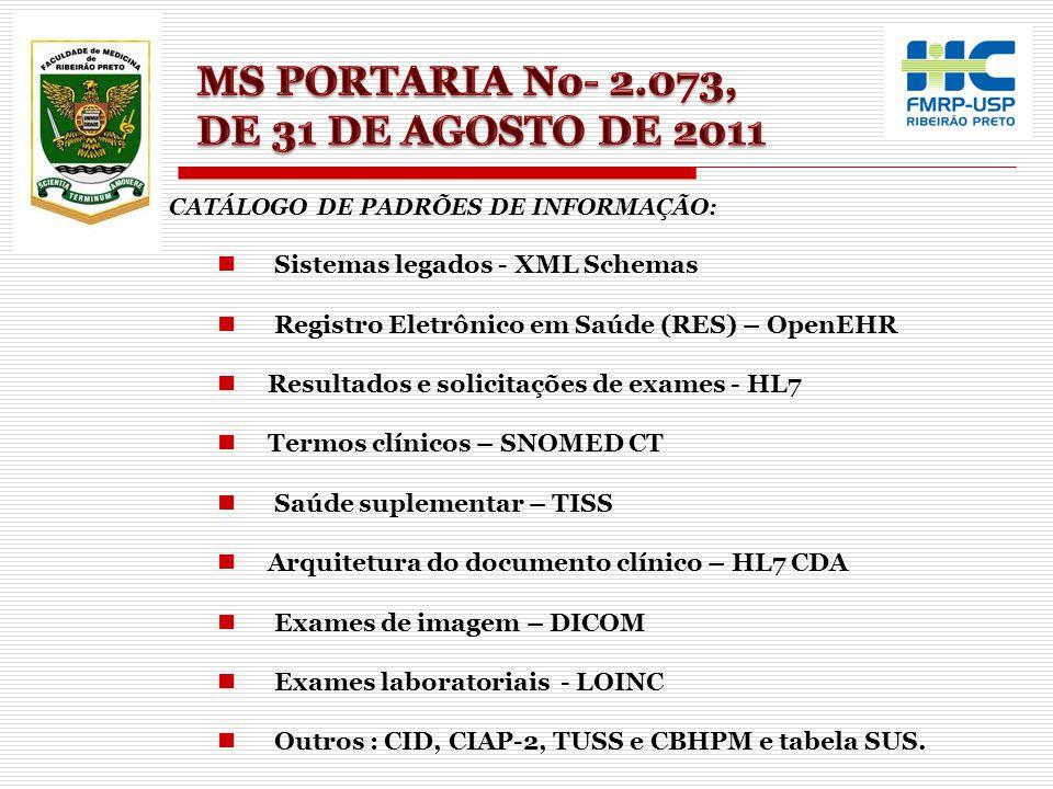 CATÁLOGO DE PADRÕES DE INFORMAÇÃO: Sistemas legados - XML Schemas Registro Eletrônico em Saúde (RES) – OpenEHR Resultados e solicitações de exames - H