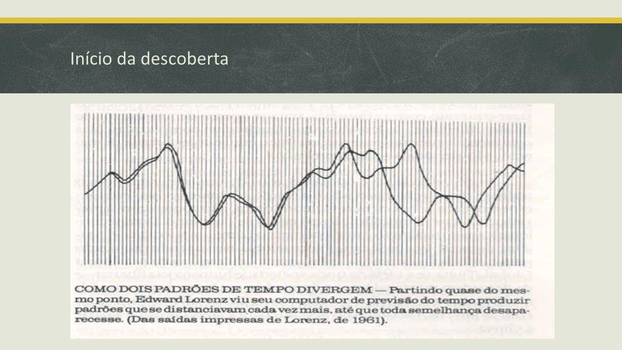 Diferencial de Lorenz Uso do computador – Previsão otimista do tempo -> Modificação e controle do tempo (John Von Neumann) Com esse modelos de computador a meteorologia é elevada ao status de ciência Modelos de fluxos para diversos tipos de oscilações – Resultados manipulados – processo frágil Previsões em curto período de tempo eram especulativas, além disso, nada valiam