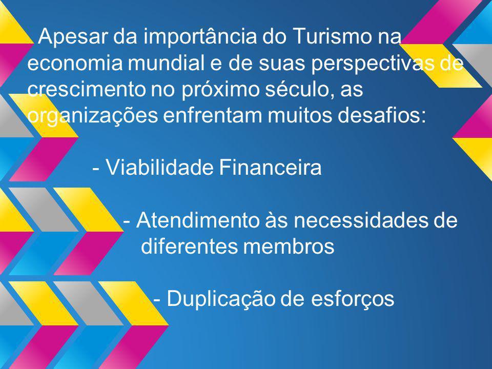 Apesar da importância do Turismo na economia mundial e de suas perspectivas de crescimento no próximo século, as organizações enfrentam muitos desafios: - Viabilidade Financeira - Atendimento às necessidades de diferentes membros - Duplicação de esforços (Turismo Internacional: uma perspectiva global.