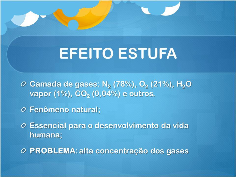 EFEITO ESTUFA Camada de gases: N 2 (78%), O 2 (21%), H 2 O vapor (1%), CO 2 (0,04%) e outros. Fenômeno natural; Essencial para o desenvolvimento da vi