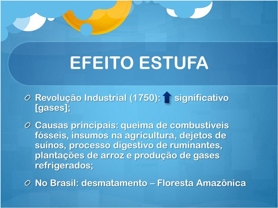 EFEITO ESTUFA Revolução Industrial (1750): significativo [gases]; Causas principais: queima de combustíveis fósseis, insumos na agricultura, dejetos d