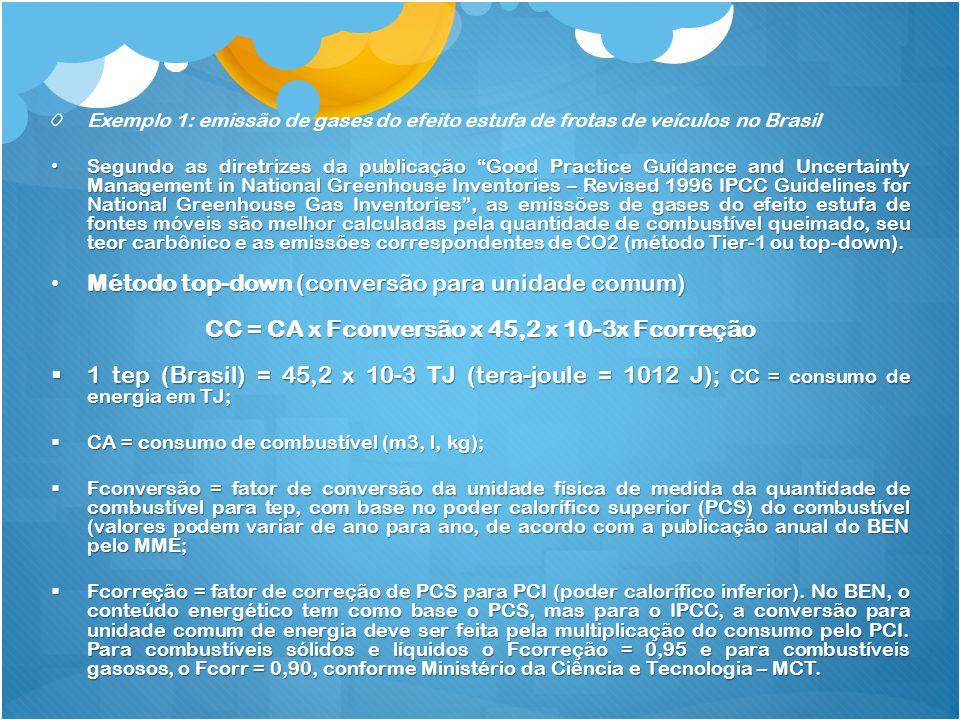 Exemplo 1: emissão de gases do efeito estufa de frotas de veículos no Brasil Segundo as diretrizes da publicação Good Practice Guidance and Uncertaint