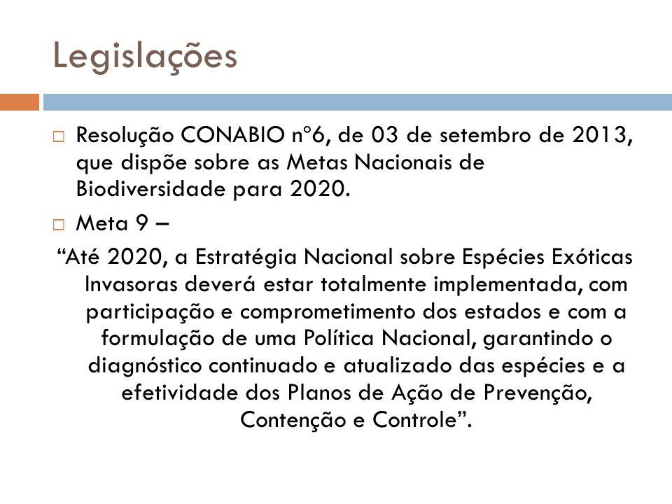 Legislações Resolução CONABIO nº6, de 03 de setembro de 2013, que dispõe sobre as Metas Nacionais de Biodiversidade para 2020. Meta 9 – Até 2020, a Es