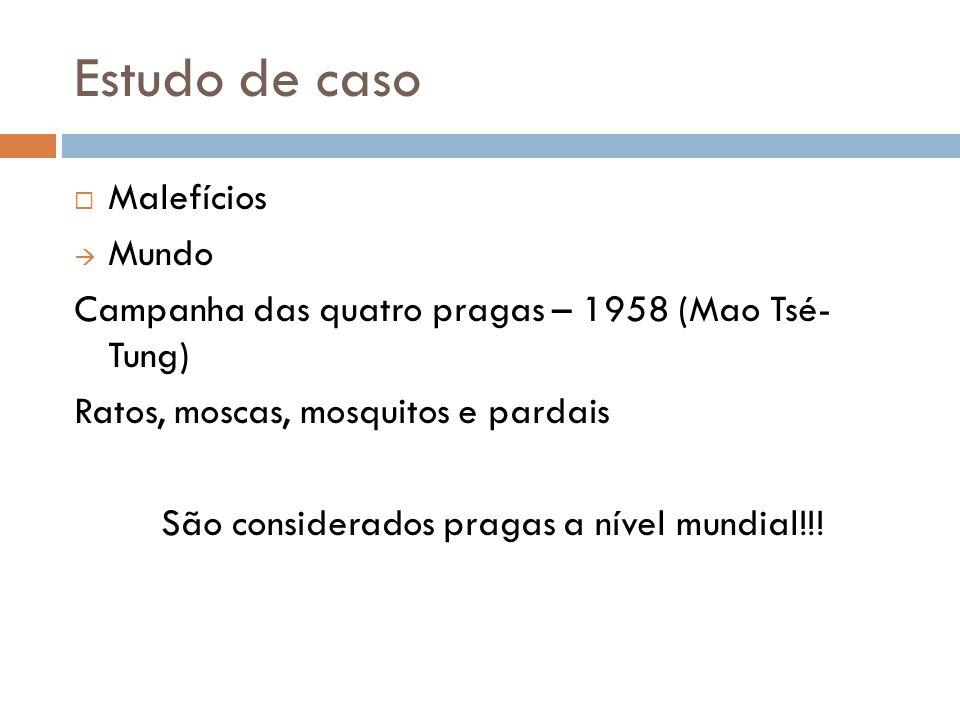 Estudo de caso Malefícios Mundo Campanha das quatro pragas – 1958 (Mao Tsé- Tung) Ratos, moscas, mosquitos e pardais São considerados pragas a nível m