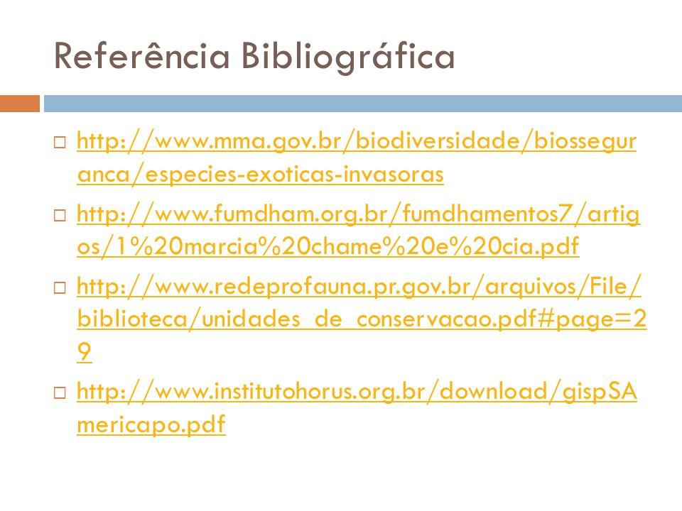 Referência Bibliográfica http://www.mma.gov.br/biodiversidade/biossegur anca/especies-exoticas-invasoras http://www.mma.gov.br/biodiversidade/biossegu