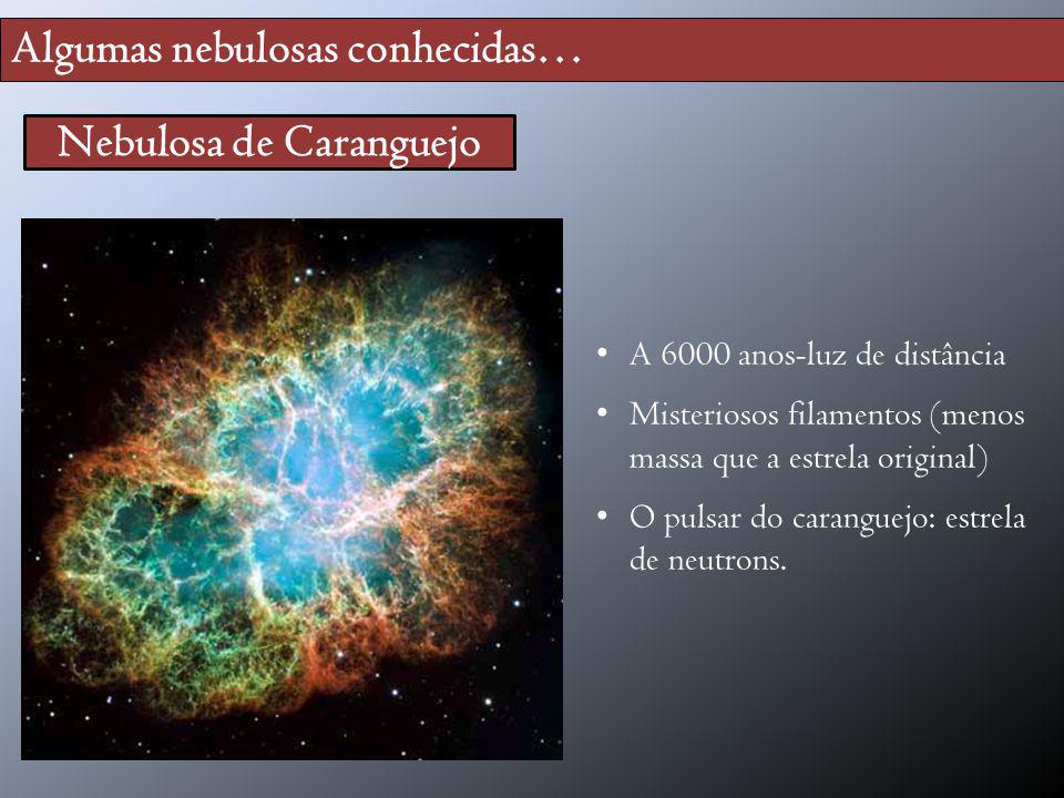 Algumas nebulosas conhecidas… Nebulosa de Caranguejo A 6000 anos-luz de distância Misteriosos filamentos (menos massa que a estrela original) O pulsar