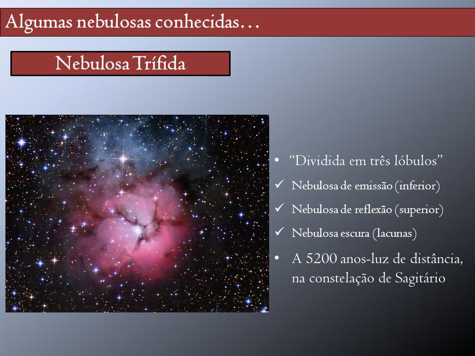 Algumas nebulosas conhecidas… Nebulosa Trífida Dividida em três lóbulos Nebulosa de emissão (inferior) Nebulosa de reflexão (superior) Nebulosa escura