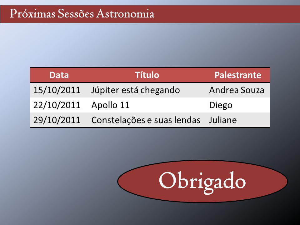 Próximas Sessões Astronomia DataTítuloPalestrante 15/10/2011Júpiter está chegandoAndrea Souza 22/10/2011Apollo 11Diego 29/10/2011Constelações e suas l
