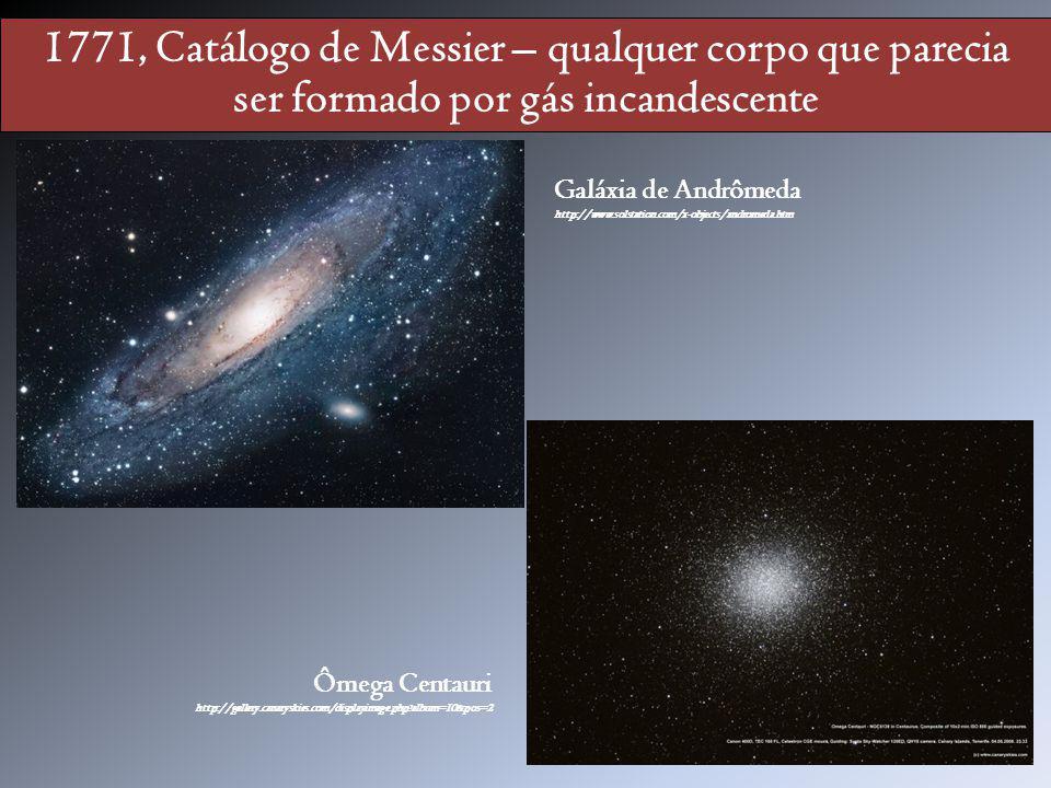 1771, Catálogo de Messier – qualquer corpo que parecia ser formado por gás incandescente Galáxia de Andrômeda http://www.solstation.com/x-objects/andr