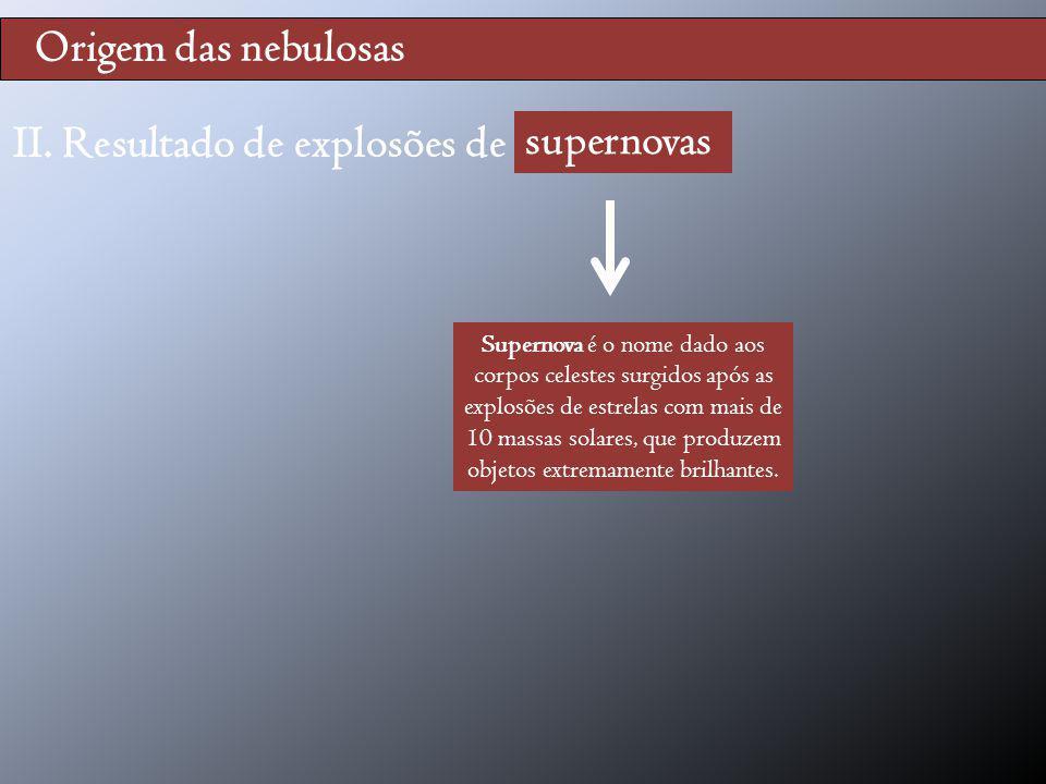 Origem das nebulosas II. Resultado de explosões de supernovas supernovas Supernova é o nome dado aos corpos celestes surgidos após as explosões de est