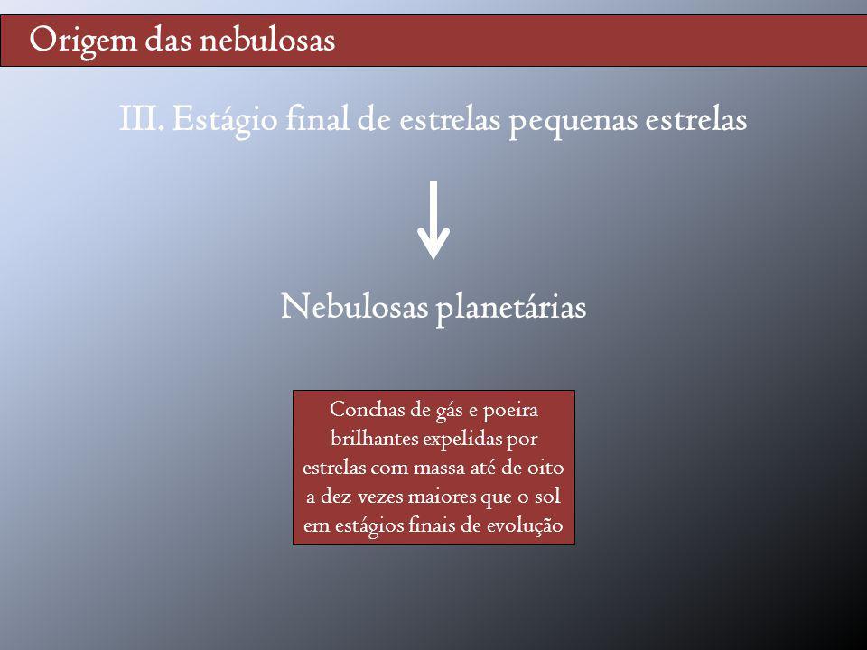 Origem das nebulosas III. Estágio final de estrelas pequenas estrelas Nebulosas planetárias Conchas de gás e poeira brilhantes expelidas por estrelas