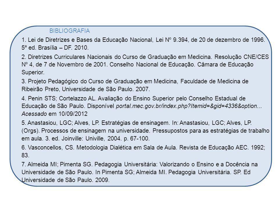 BIBLIOGRAFIA 1. Lei de Diretrizes e Bases da Educação Nacional, Lei Nº 9.394, de 20 de dezembro de 1996. 5ª ed. Brasília – DF. 2010. 2. Diretrizes Cur