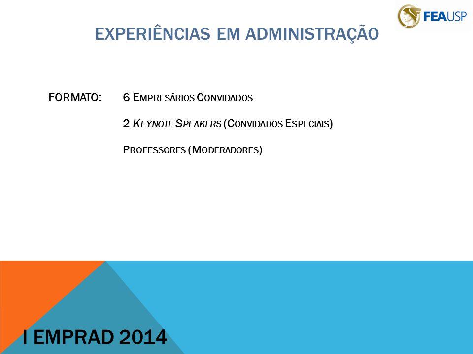 EXPERIÊNCIAS EM ADMINISTRAÇÃO FORMATO:6 E MPRESÁRIOS C ONVIDADOS 2 K EYNOTE S PEAKERS (C ONVIDADOS E SPECIAIS ) P ROFESSORES (M ODERADORES ) I EMPRAD 2014