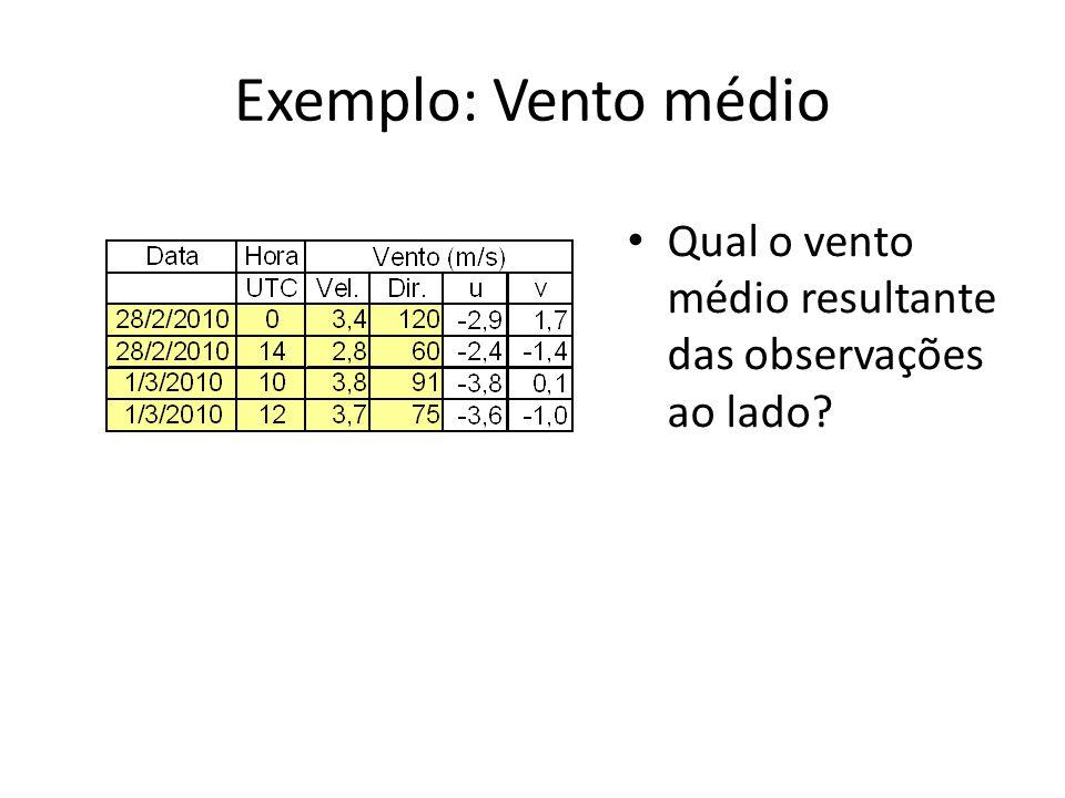 Exemplo: Vento médio Qual o vento médio resultante das observações ao lado?
