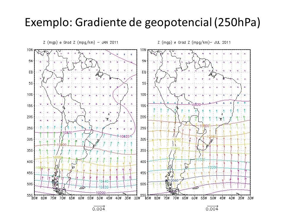 Exemplo: Gradiente de geopotencial (250hPa)