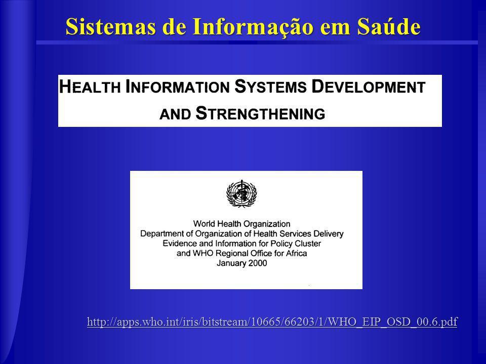 http://apps.who.int/iris/bitstream/10665/66203/1/WHO_EIP_OSD_00.6.pdf Sistemas de Informação em Saúde
