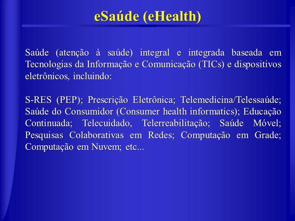 eSaúde (eHealth) Saúde (atenção à saúde) integral e integrada baseada em Tecnologias da Informação e Comunicação (TICs) e dispositivos eletrônicos, incluindo: S-RES (PEP); Prescrição Eletrônica; Telemedicina/Telessaúde; Saúde do Consumidor (Consumer health informatics); Educação Continuada; Telecuidado, Telerreabilitação; Saúde Móvel; Pesquisas Colaborativas em Redes; Computação em Grade; Computação em Nuvem; etc...