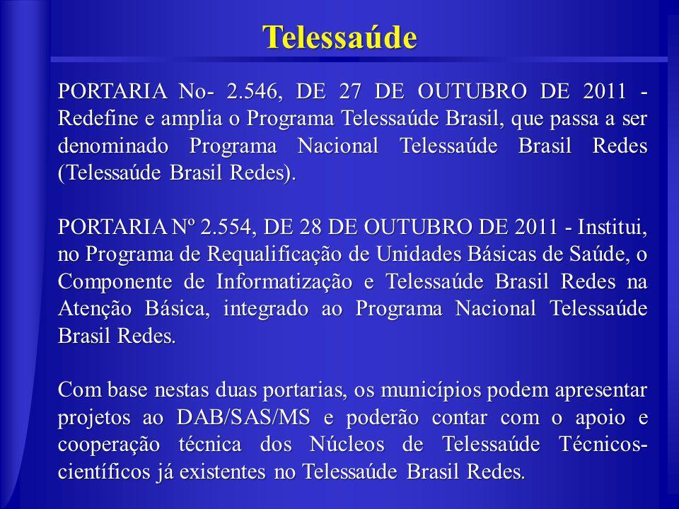 Telessaúde PORTARIA No- 2.546, DE 27 DE OUTUBRO DE 2011 - Redefine e amplia o Programa Telessaúde Brasil, que passa a ser denominado Programa Nacional Telessaúde Brasil Redes (Telessaúde Brasil Redes).