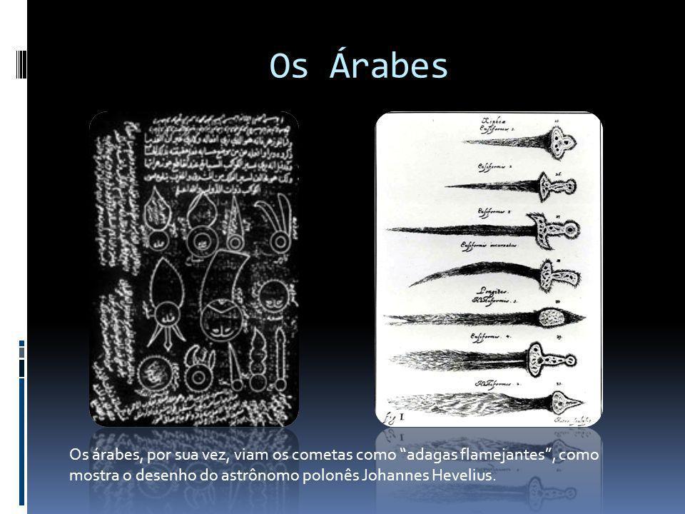 Os Árabes Os árabes, por sua vez, viam os cometas como adagas flamejantes, como mostra o desenho do astrônomo polonês Johannes Hevelius.