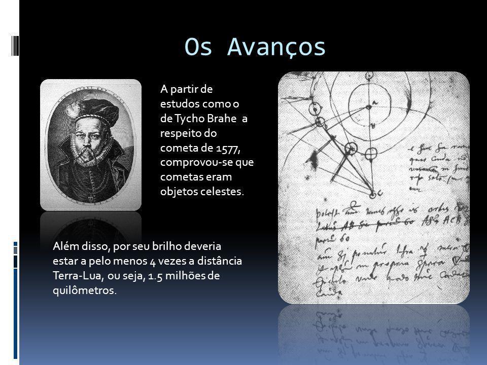 Os Avanços A partir de estudos como o de Tycho Brahe a respeito do cometa de 1577, comprovou-se que cometas eram objetos celestes. Além disso, por seu