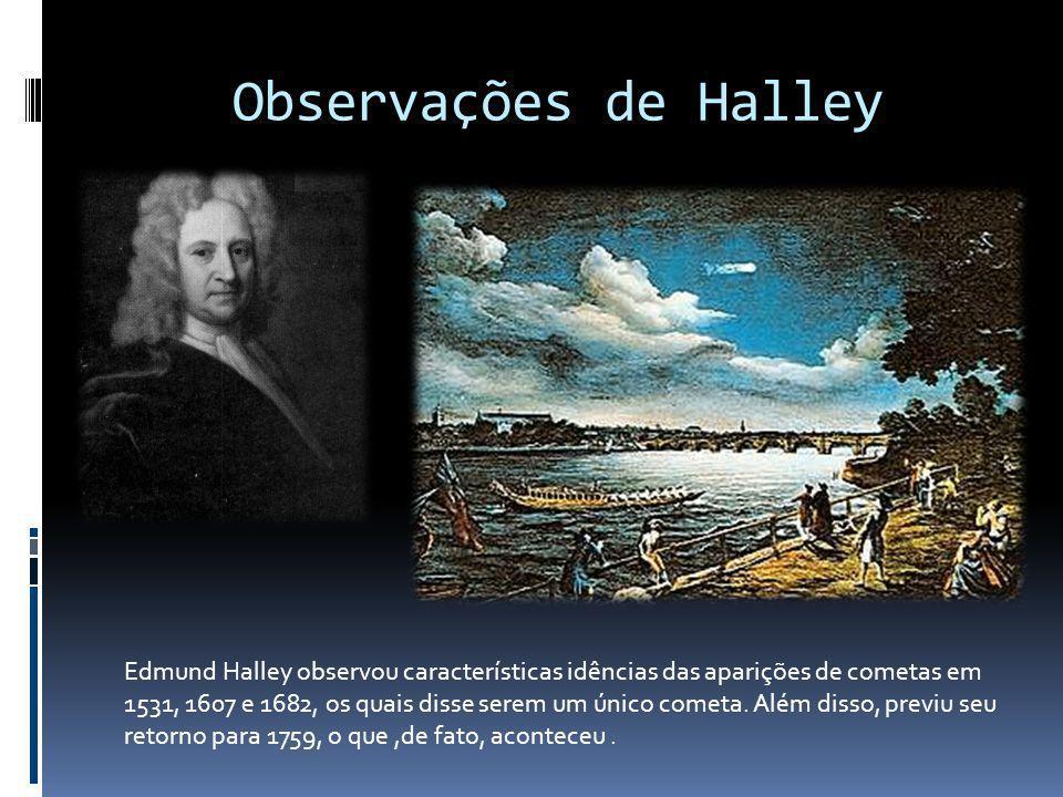 Observações de Halley Edmund Halley observou características idências das aparições de cometas em 1531, 1607 e 1682, os quais disse serem um único com