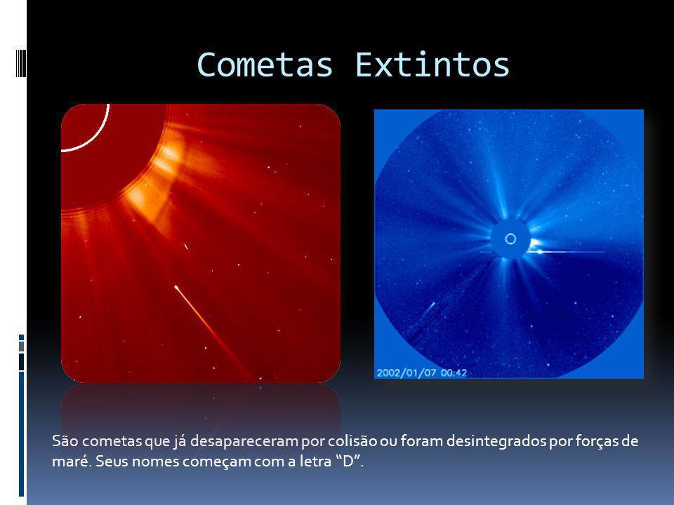 Cometas Extintos São cometas que já desapareceram por colisão ou foram desintegrados por forças de maré. Seus nomes começam com a letra D.
