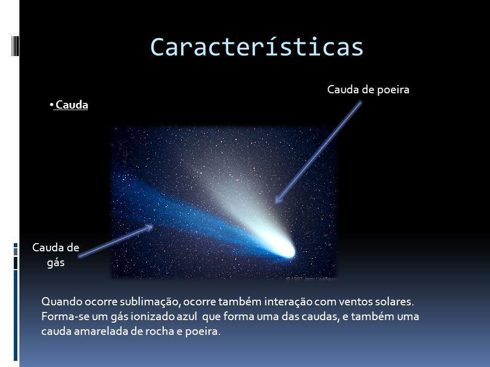 Características Cauda Quando ocorre sublimação, ocorre também interação com ventos solares. Forma-se um gás ionizado azul que forma uma das caudas, e