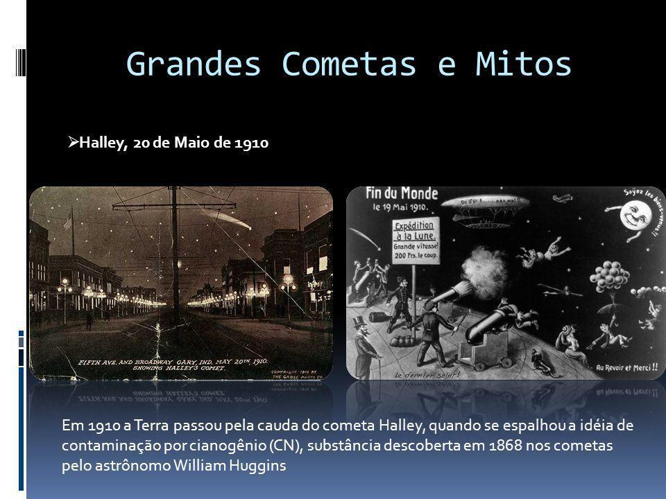 Grandes Cometas e Mitos Halley, 20 de Maio de 1910 Em 1910 a Terra passou pela cauda do cometa Halley, quando se espalhou a idéia de contaminação por