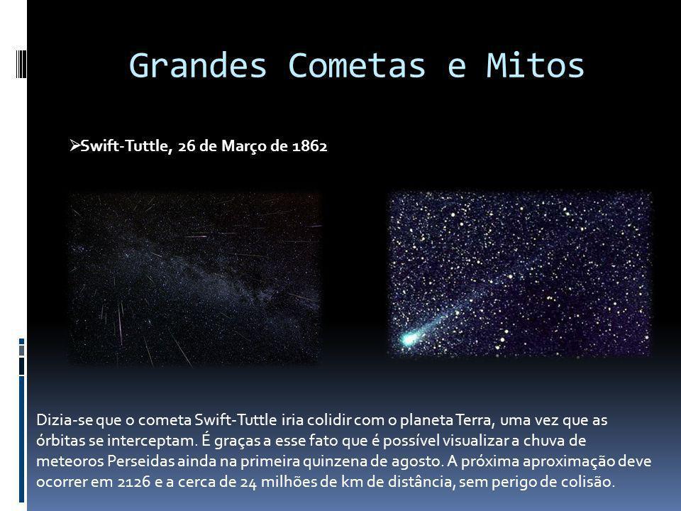Grandes Cometas e Mitos Swift-Tuttle, 26 de Março de 1862 Dizia-se que o cometa Swift-Tuttle iria colidir com o planeta Terra, uma vez que as órbitas