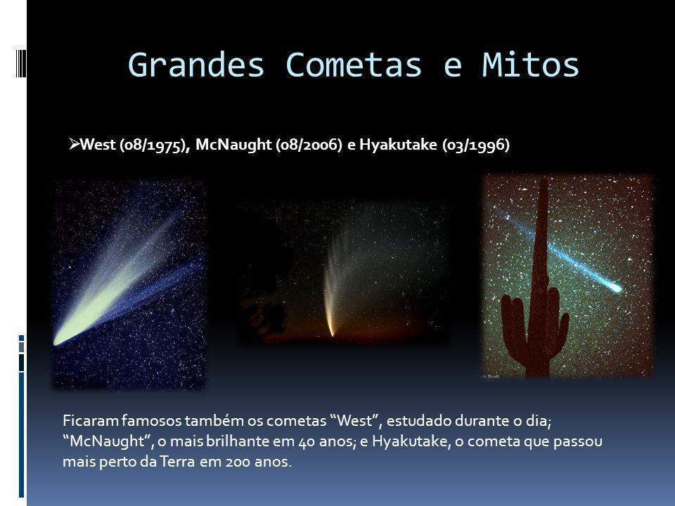 Grandes Cometas e Mitos West (08/1975), McNaught (08/2006) e Hyakutake (03/1996) Ficaram famosos também os cometas West, estudado durante o dia; McNau