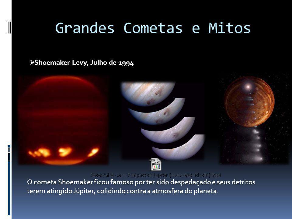 Grandes Cometas e Mitos Shoemaker Levy, Julho de 1994 O cometa Shoemaker ficou famoso por ter sido despedaçado e seus detritos terem atingido Júpiter,