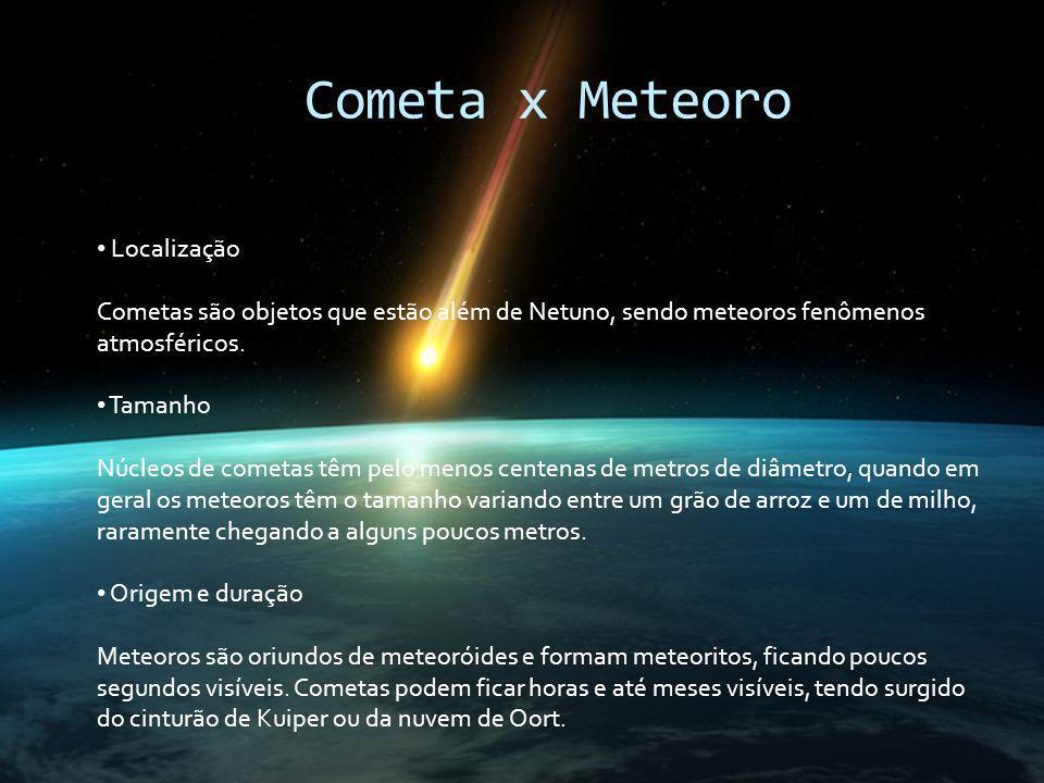 Cometa x Meteoro Localização Cometas são objetos que estão além de Netuno, sendo meteoros fenômenos atmosféricos. Tamanho Núcleos de cometas têm pelo