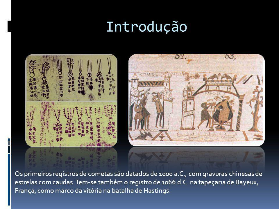 Introdução Os primeiros registros de cometas são datados de 1000 a.C., com gravuras chinesas de estrelas com caudas. Tem-se também o registro de 1066