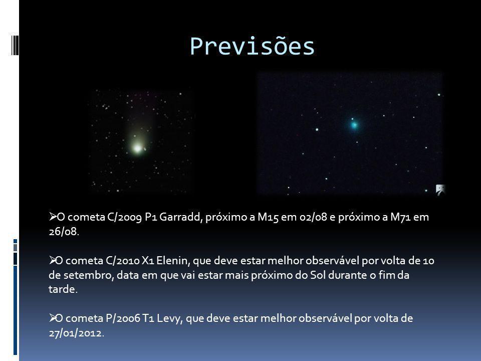 Previsões O cometa C/2009 P1 Garradd, próximo a M15 em 02/08 e próximo a M71 em 26/08. O cometa C/2010 X1 Elenin, que deve estar melhor observável por