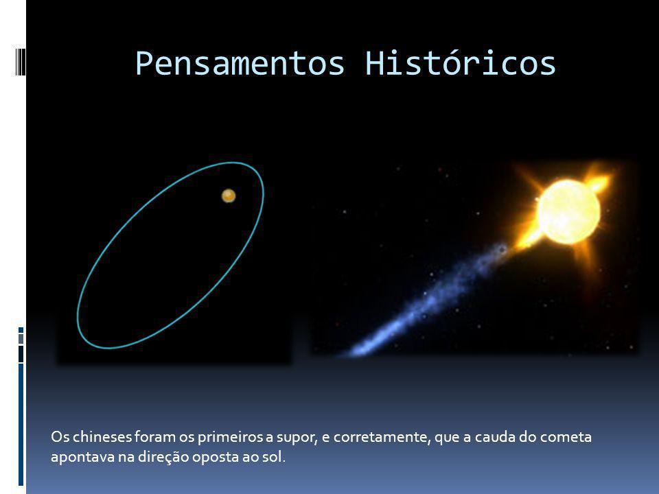 Pensamentos Históricos Os chineses foram os primeiros a supor, e corretamente, que a cauda do cometa apontava na direção oposta ao sol.