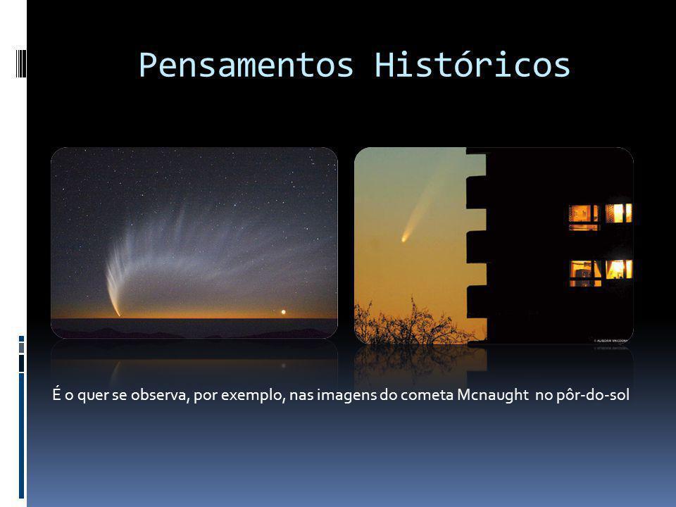 Pensamentos Históricos É o quer se observa, por exemplo, nas imagens do cometa Mcnaught no pôr-do-sol