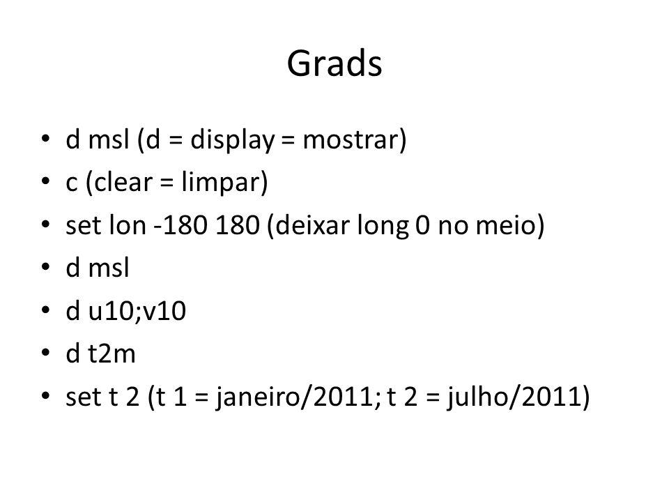 Grads d msl (d = display = mostrar) c (clear = limpar) set lon -180 180 (deixar long 0 no meio) d msl d u10;v10 d t2m set t 2 (t 1 = janeiro/2011; t 2