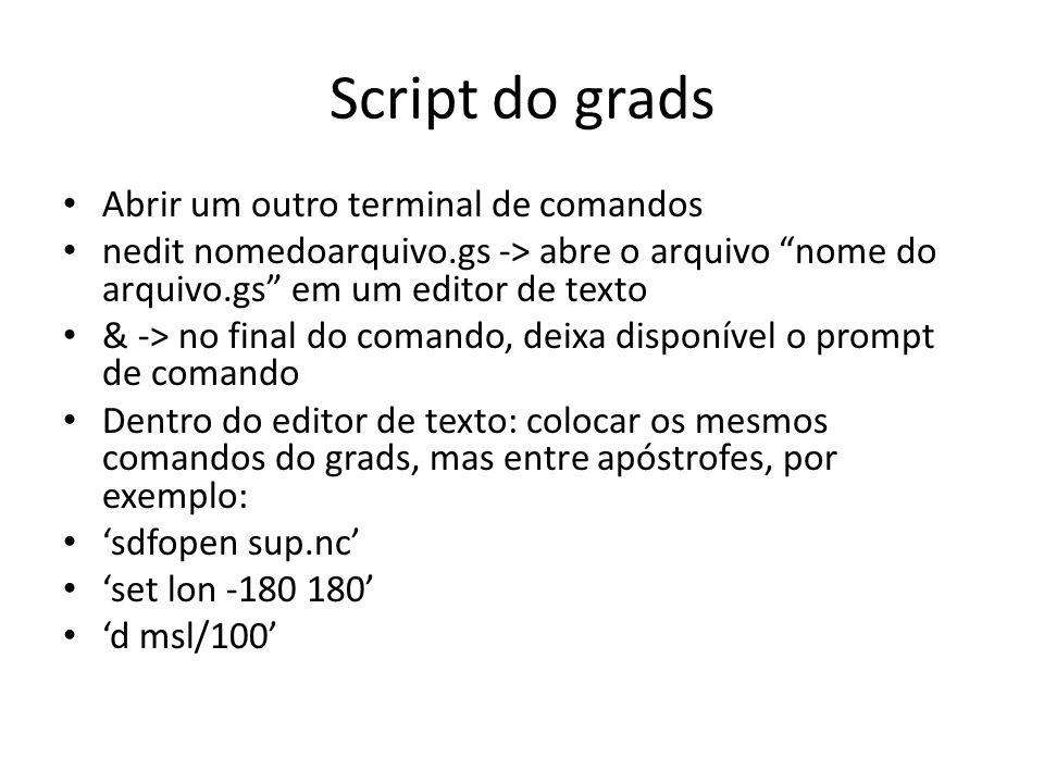 Script do grads Abrir um outro terminal de comandos nedit nomedoarquivo.gs -> abre o arquivo nome do arquivo.gs em um editor de texto & -> no final do