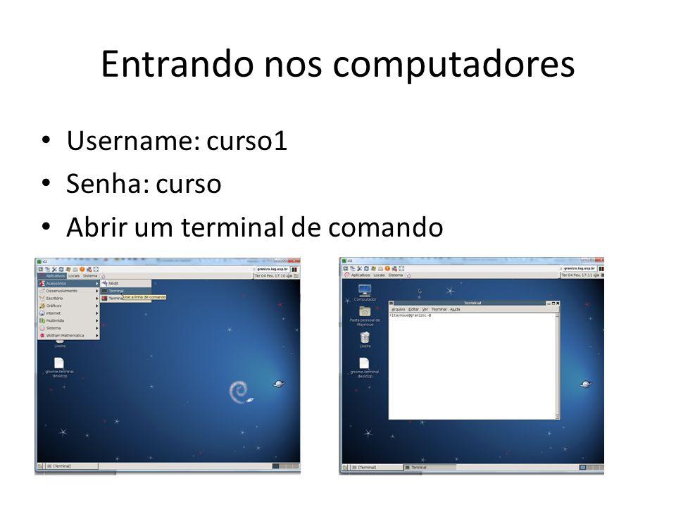 Entrando nos computadores Username: curso1 Senha: curso Abrir um terminal de comando