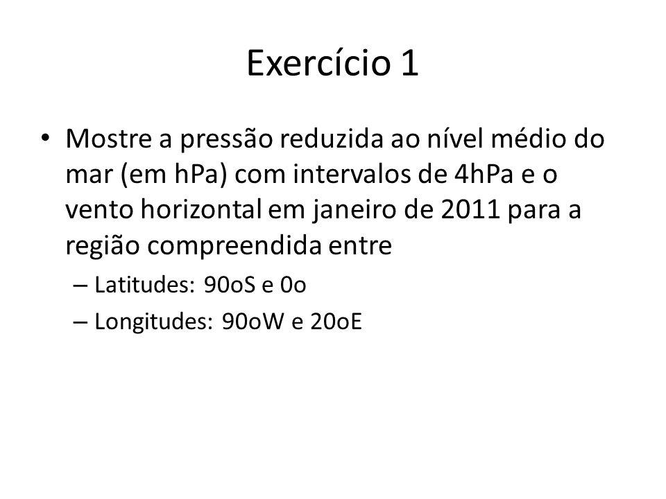 Exercício 1 Mostre a pressão reduzida ao nível médio do mar (em hPa) com intervalos de 4hPa e o vento horizontal em janeiro de 2011 para a região comp