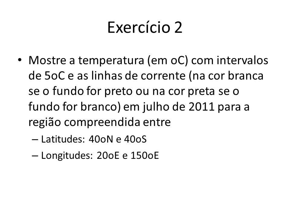 Exercício 2 Mostre a temperatura (em oC) com intervalos de 5oC e as linhas de corrente (na cor branca se o fundo for preto ou na cor preta se o fundo