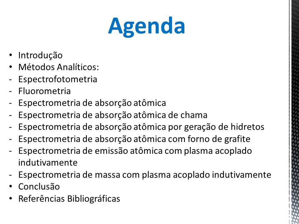 Agenda Introdução Métodos Analíticos: -Espectrofotometria -Fluorometria -Espectrometria de absorção atômica -Espectrometria de absorção atômica de cha