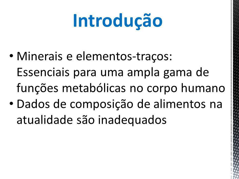 Introdução Minerais e elementos-traços: Essenciais para uma ampla gama de funções metabólicas no corpo humano Dados de composição de alimentos na atua