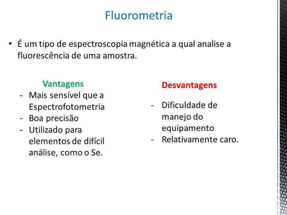 Fluorometria É um tipo de espectroscopia magnética a qual analise a fluorescência de uma amostra. Vantagens -Mais sensível que a Espectrofotometria -B