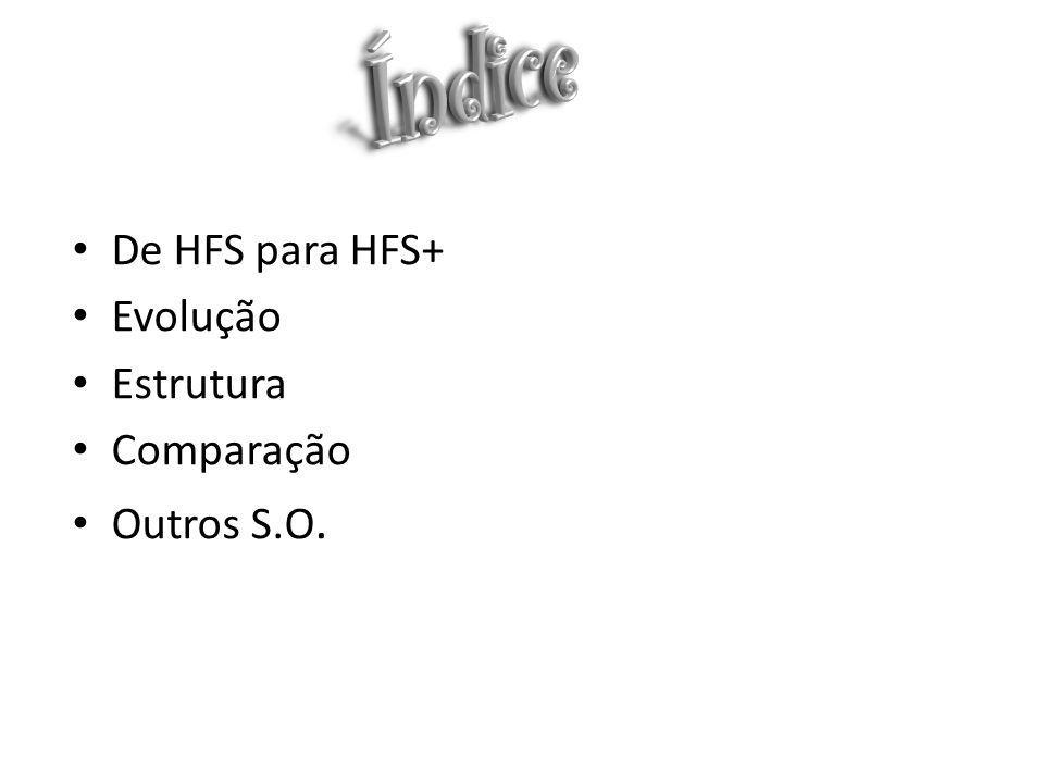 De HFS para HFS+ Evolução Estrutura Comparação Outros S.O.