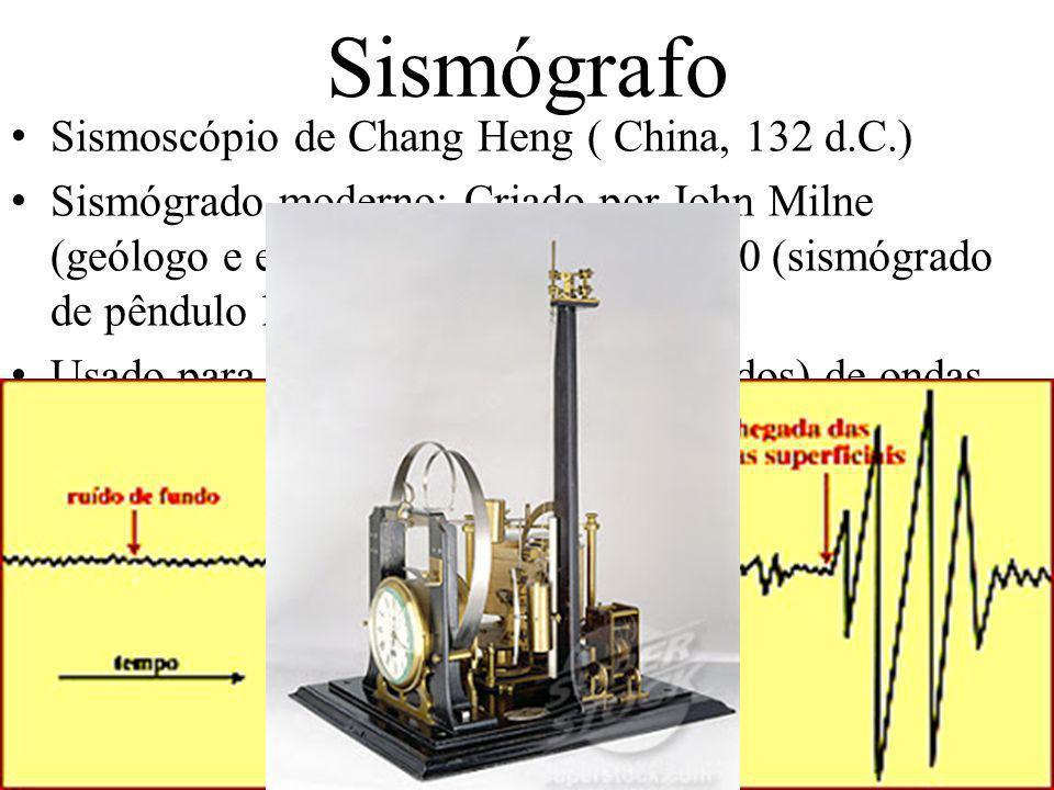 Sismógrafo Sismoscópio de Chang Heng ( China, 132 d.C.) Sismógrado moderno: Criado por John Milne (geólogo e engenheiro inglês) em 1880 (sismógrado de pêndulo horizontal).