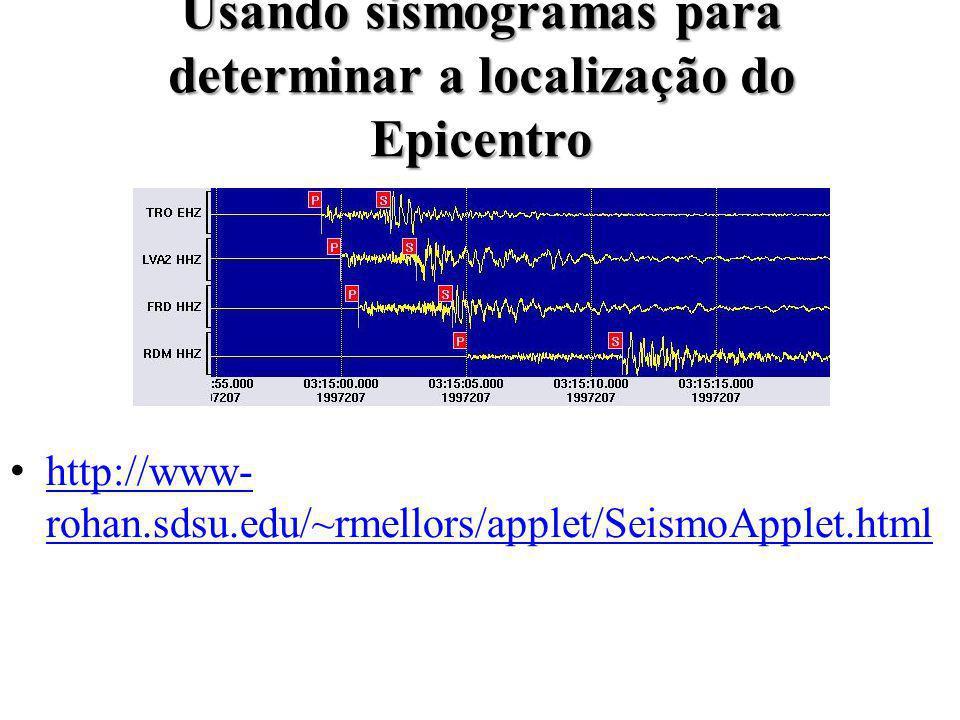 Usando sismogramas para determinar a localização do Epicentro http://www- rohan.sdsu.edu/~rmellors/applet/SeismoApplet.htmlhttp://www- rohan.sdsu.edu/~rmellors/applet/SeismoApplet.html